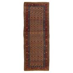 Antique Bidjar Handmade Allover Floral Brown Wool Runner