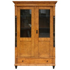 Antique Biedermeier Bookcase, Bird's-Eye Maple, 19th Century