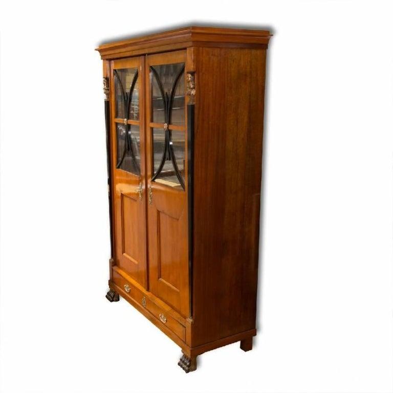 Brass Antique Biedermeier Bookcase, 1830s