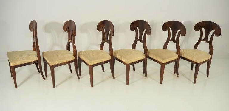 Veneer Antique Biedermeier Dining Chairs by Josef Danhauser, Set of 6 For Sale
