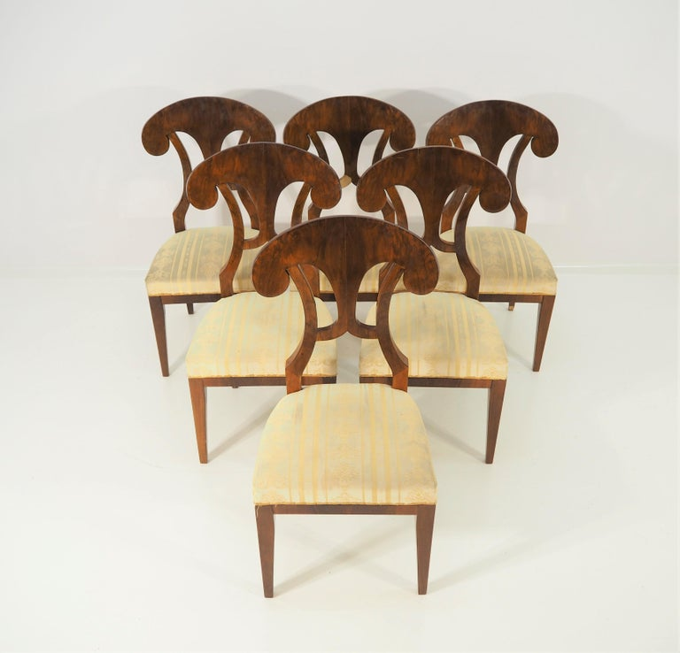 Nutwood Antique Biedermeier Dining Chairs by Josef Danhauser, Set of 6 For Sale