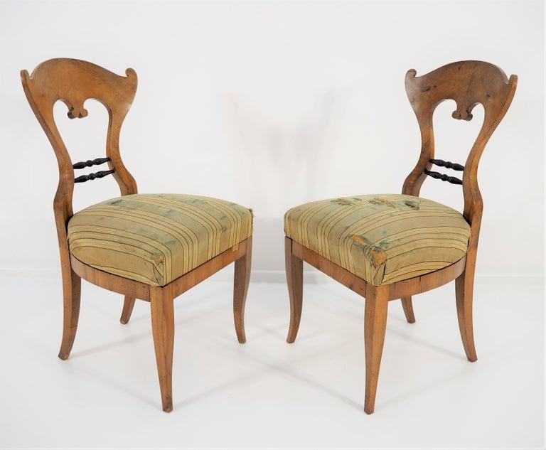 Veneer Antique Biedermeier Dining Chairs, Set of 2 For Sale