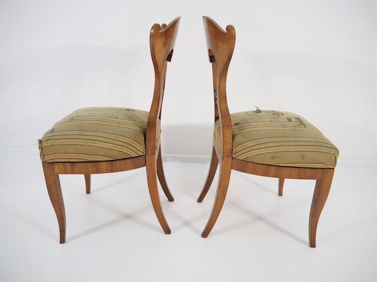 Antique Biedermeier Dining Chairs, Set of 2 In Good Condition For Sale In Bielsko Biala, slaskie