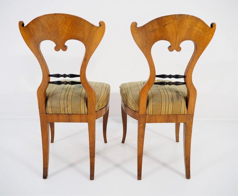 Walnut Antique Biedermeier Dining Chairs, Set of 2 For Sale