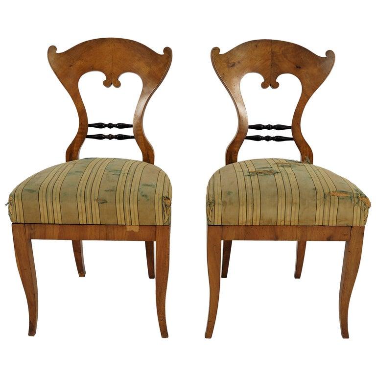 Antique Biedermeier Dining Chairs, Set of 2 For Sale