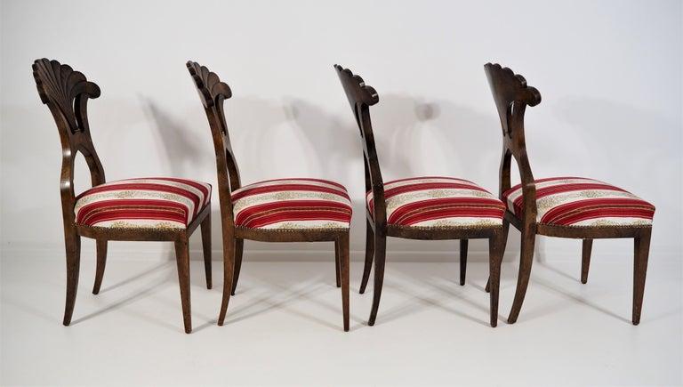 Antique Biedermeier Dining Chairs Set of 4 For Sale 3
