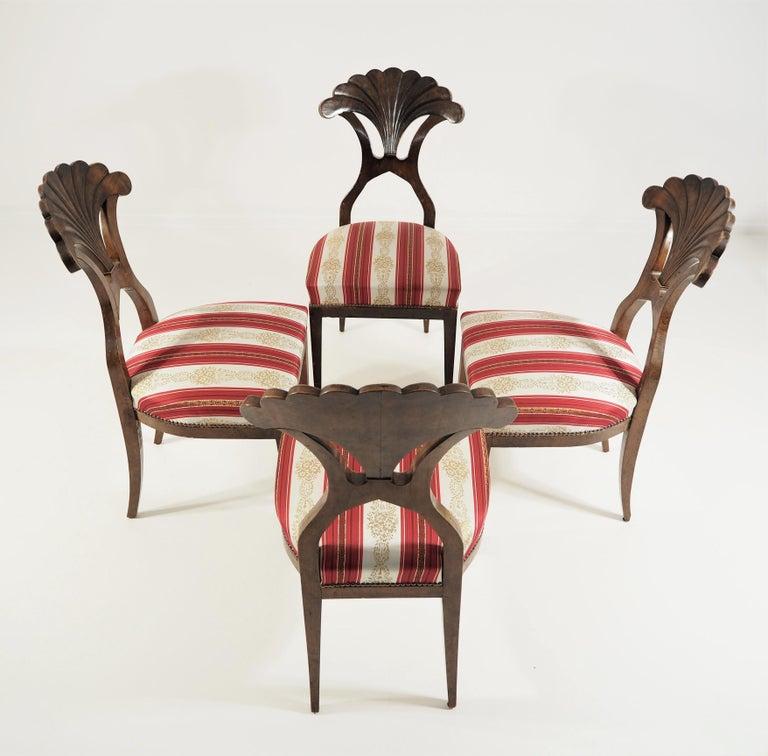 Antique Biedermeier Dining Chairs Set of 4 For Sale 6