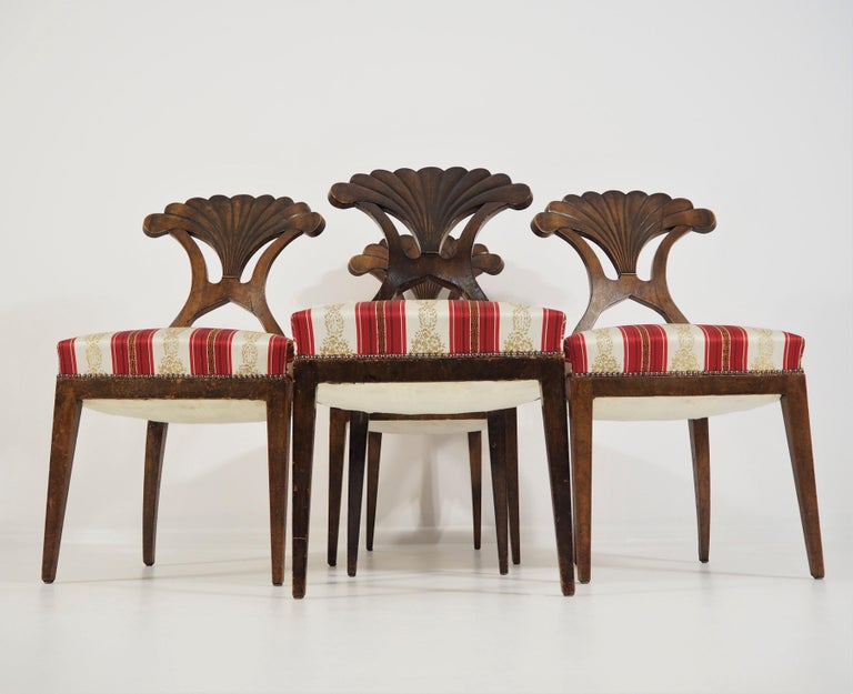 Antique Biedermeier Dining Chairs Set of 4 For Sale 7