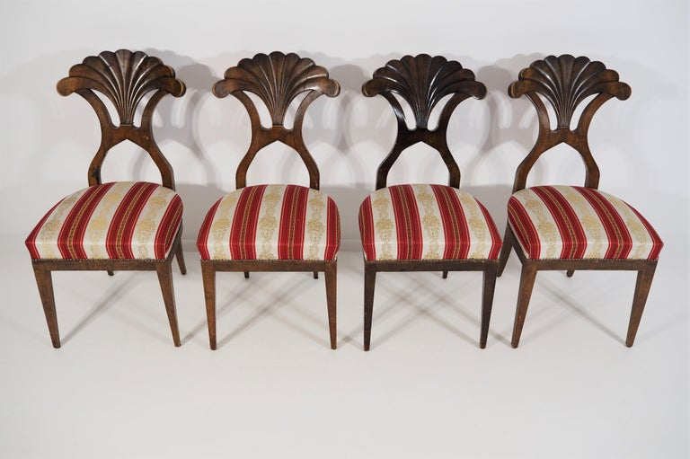 Austrian Antique Biedermeier Dining Chairs Set of 4 For Sale