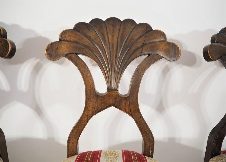 Veneer Antique Biedermeier Dining Chairs Set of 4 For Sale