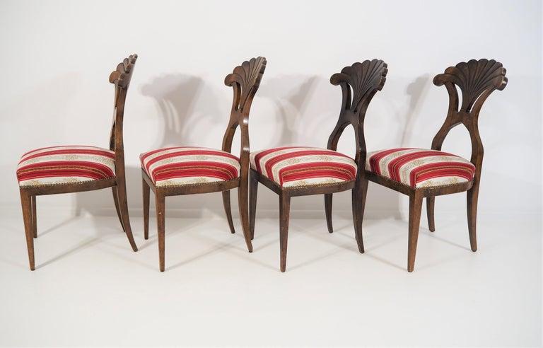Antique Biedermeier Dining Chairs Set of 4 In Good Condition For Sale In Bielsko Biala, slaskie