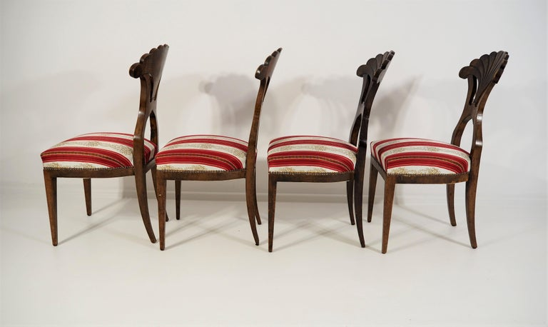 19th Century Antique Biedermeier Dining Chairs Set of 4 For Sale