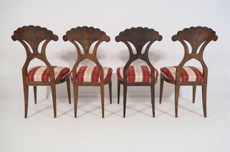 Nutwood Antique Biedermeier Dining Chairs Set of 4 For Sale