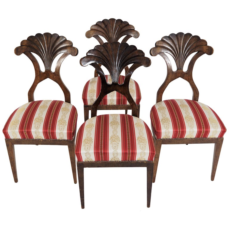Antique Biedermeier Dining Chairs Set of 4 For Sale