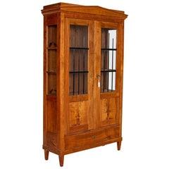 Antique Biedermeier Elm Bookcase Display Cabinet with Glass Side Panels