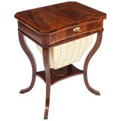 Antique Biedermeier Flame Mahogany Work Box, 19th Century