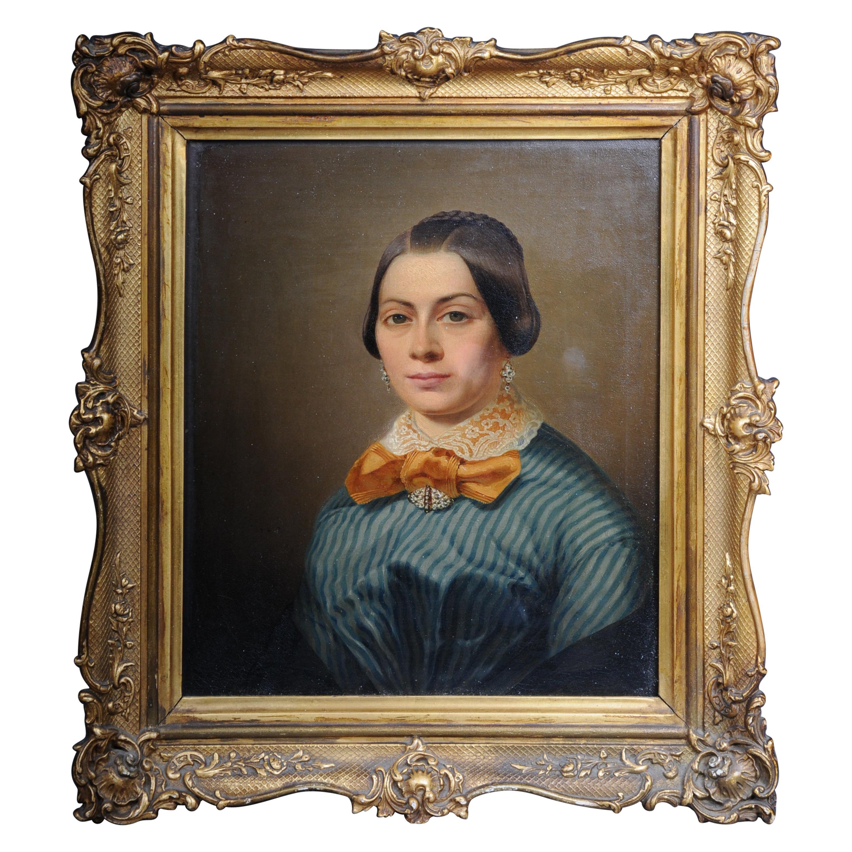 Antique Biedermeier Ladies Portrait / Painting, 19th Century