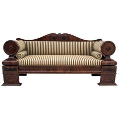 Antique Biedermeier Mahogany Sofa after Renovation, circa 1840
