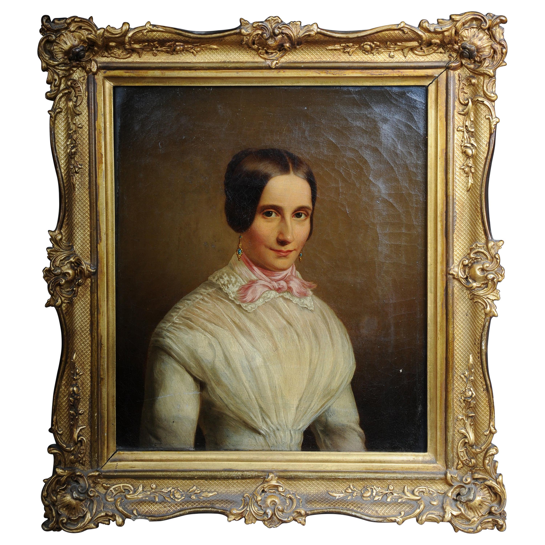 Antique Biedermeier Portrait / Painting, 19th Century