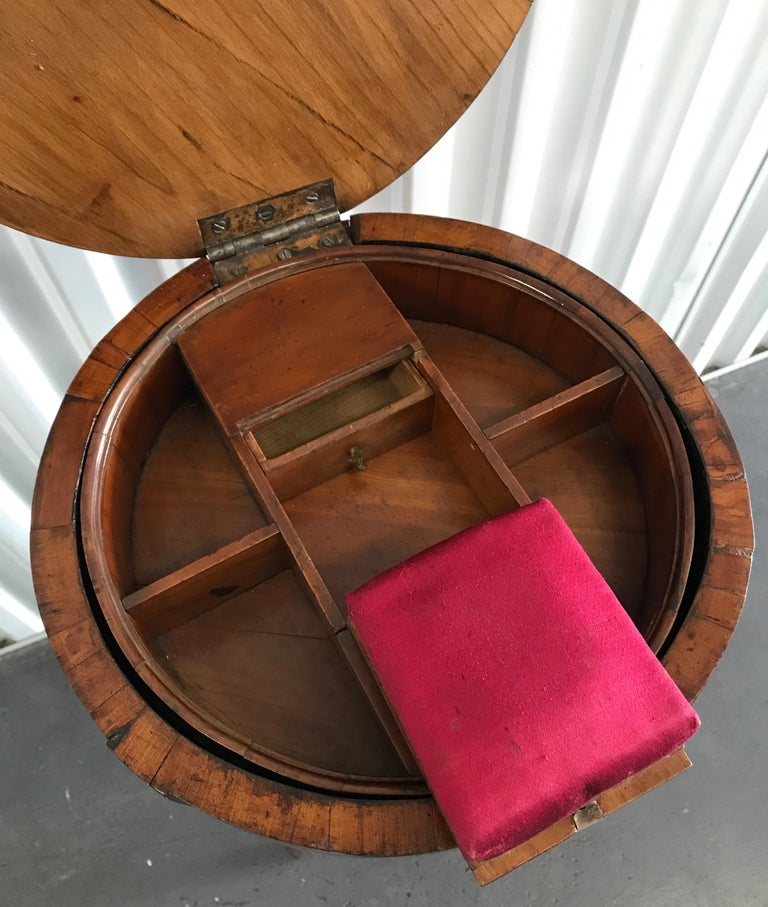 19th Century Antique Biedermeier Round Sewing Side Table