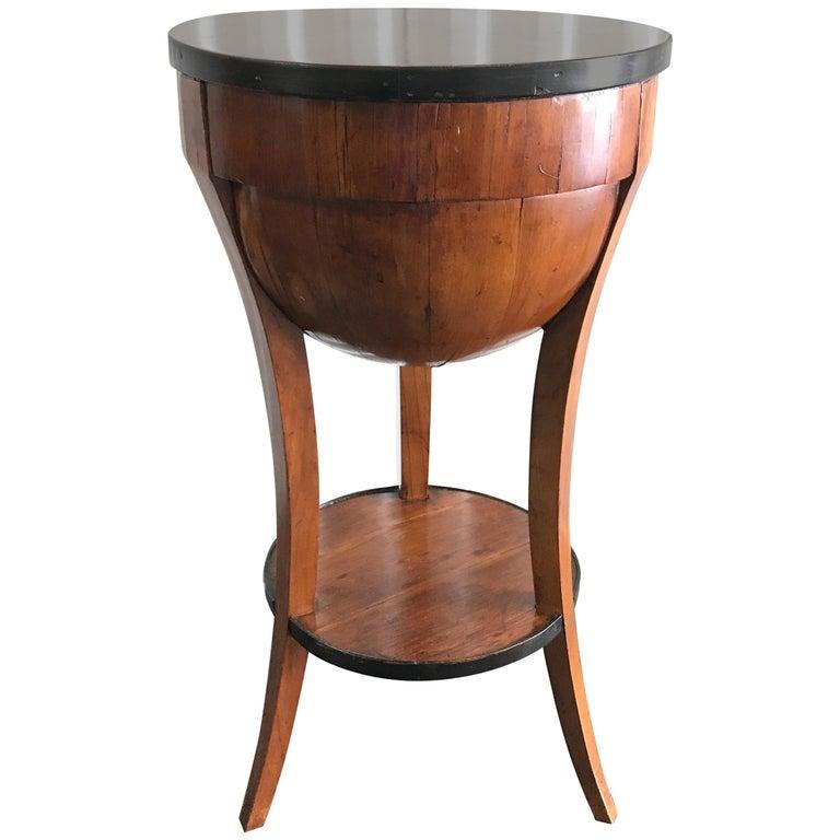 Antique Biedermeier Round Sewing Side Table