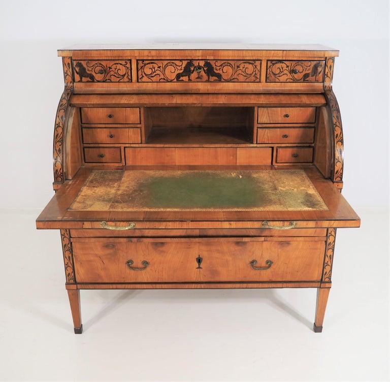 Veneer Antique Biedermeier Secretaire For Sale
