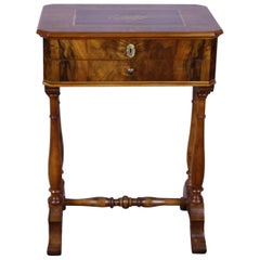 Antique Biedermeier Sewing Table with Maquetry