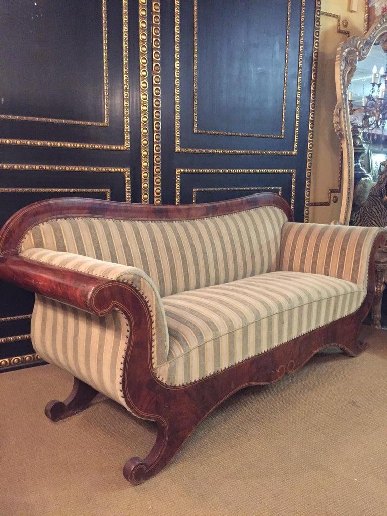 Antique Biedermeier Sofa Couch circa 1825 Mahogany For Sale 8