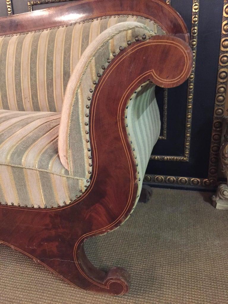 Antique Biedermeier Sofa Couch circa 1825 Mahogany For Sale 1