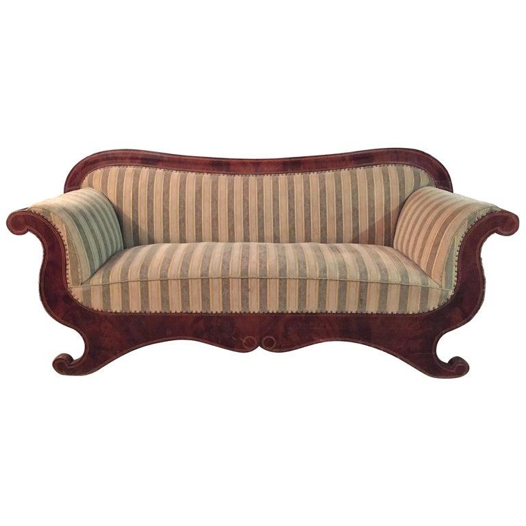 Antique Biedermeier Sofa Couch circa 1825 Mahogany For Sale