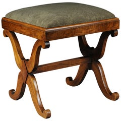 Antique Biedermeier Stool/Bench Walnut, Southern German, circa 1825
