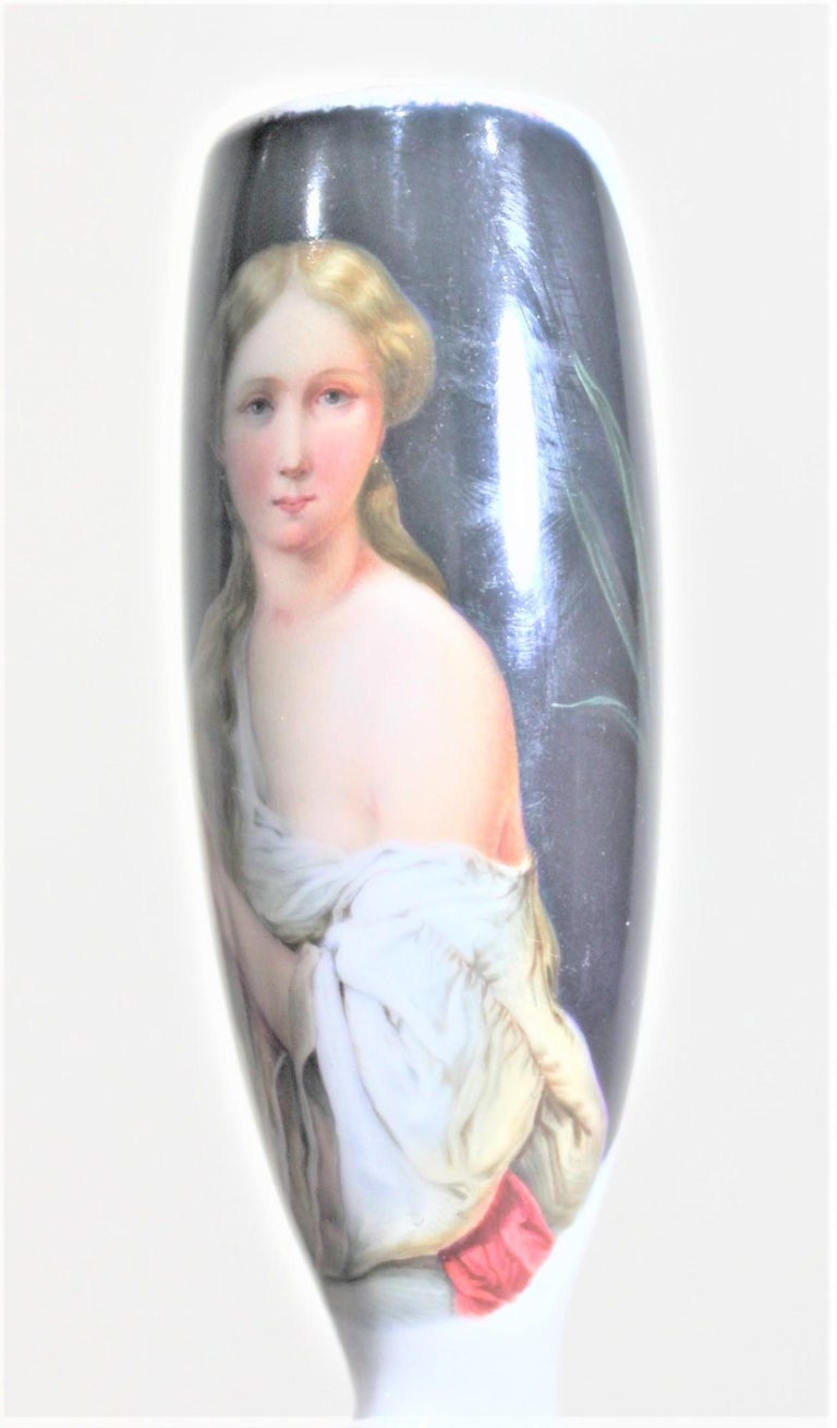 19th Century Antique Biedermeier Styled Smoking Pipe Head or Bowl with a Hand-Painted Female For Sale