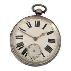 Antique Big Silver Key Winding Pocket Watch