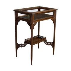 Antique Bijouterie Table, English, Walnut, Glass, Display, Edwardian, circa 1910