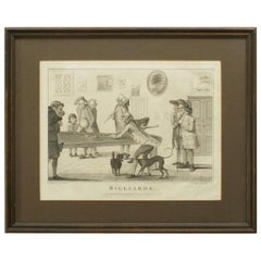 Antique Billiard engraving after Henry Bunbury, Ideal Snooker, Pool Room Picture