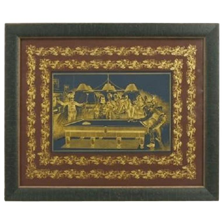 Antique Billiard or Snooker, Pool Engraved Glass Panel For Sale