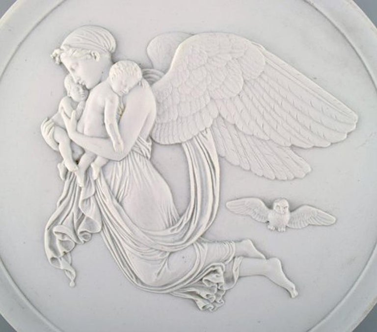 Antique Bing and Grondahl relief by Thorvaldsen, 'night', biscuit.