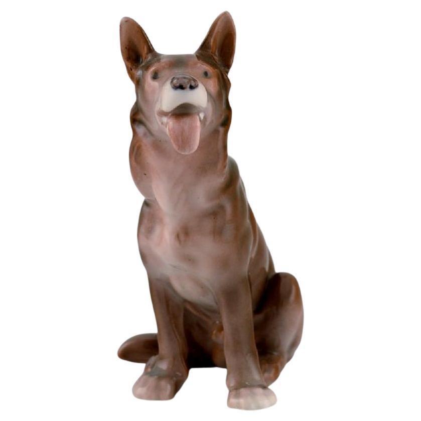 Antique Bing & Grøndahl Porcelain Figurine, Sitting German Shepherd