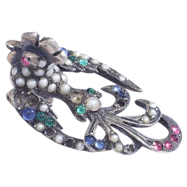 Antique Bird of Paradise Pearl and Color Stones on Silver For Sale