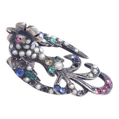 Antique Bird of Paradise Pearl and Color Stones on Silver