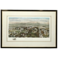 Antique Bird's-Eye View Collegiate Lithograph of Amherst College, circa 1890