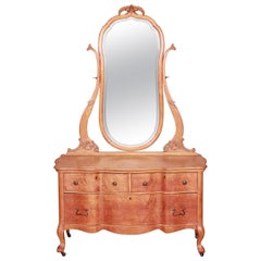 Antique Birdseye Maple Dresser with Mirror, circa 1900