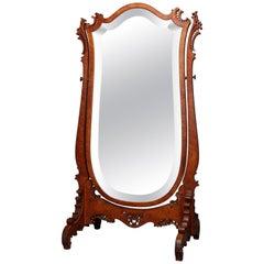 Antique Birdseye Maple RJ Horner School Shield Form Cheval Mirror, circa 1900