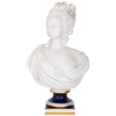 Antique Biscuit Porcelain Figure of Queen Marie Antoinette