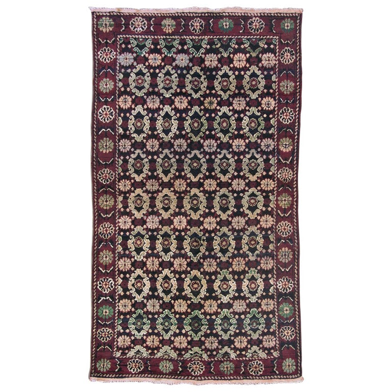 Antique Black And Burgundy Indian Agra Rug For Sale At 1stdibs