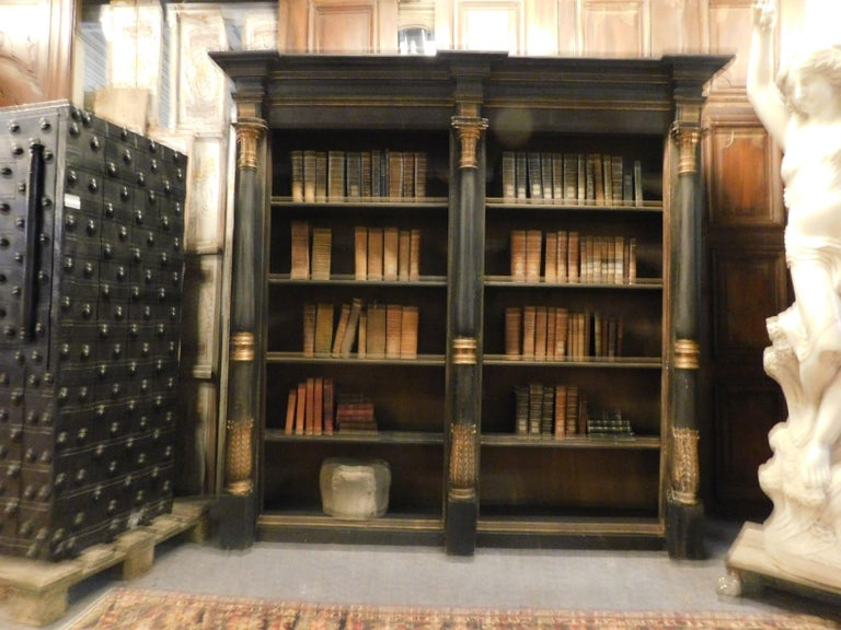 Italian Antique Black and Gold Lacquered Wood Bookcase, Early 1800s, Italy For Sale
