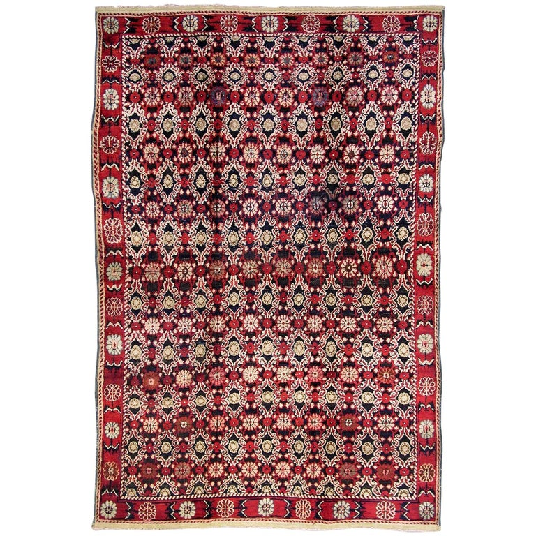 Antique Indian Agra Rug For Sale At 1stdibs: Antique Black And Red Indian Agra Rug For Sale At 1stdibs