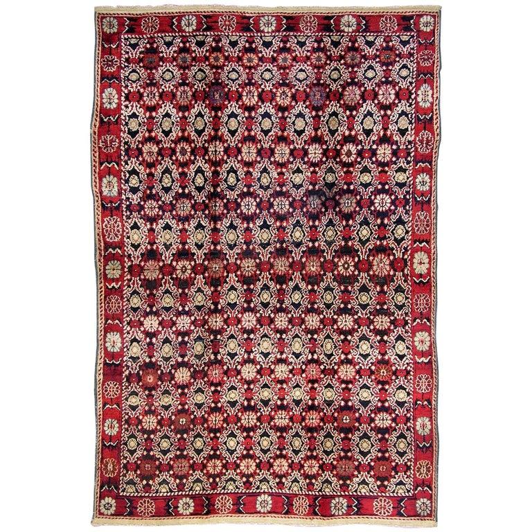 Deep Burgundy Indian Agra Rug For Sale At 1stdibs: Antique Black And Red Indian Agra Rug For Sale At 1stdibs