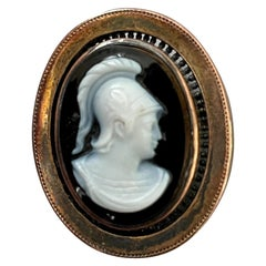 Antique Black and White Stone and 14 Karat Yellow Gold Cameo