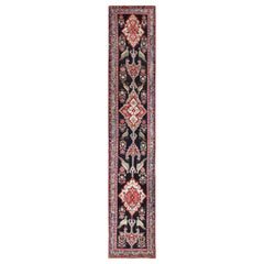 Antique Black Caucasian Karabagh Runner Rug. Size: 3 ft 7 in x 17 ft 6 in